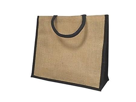 e38a7533385 Yellowboots Jute Hessian Large Black Trim Shopping Bag (L1B)  Amazon ...