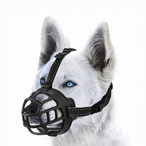 wintchuk Soft Silicone Basket Dog Muzzle Mouth Cover with Nylon and Reflective Neck Straps for Small, Medium and Large Dogs, Anti Barking, Biting, Chewing and Licking, Adjustable-4