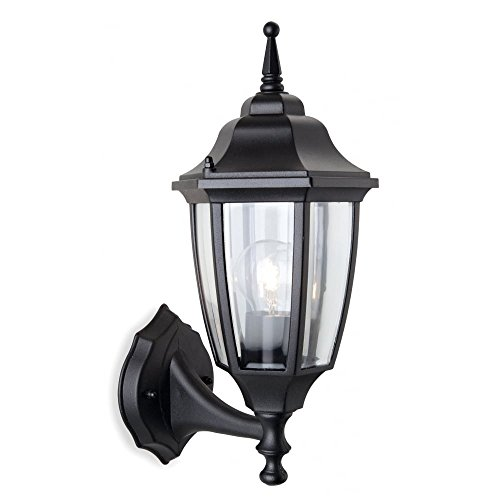 Traditional Black Coach Lantern Outdoor, 1 Bulb, 6 Sided, Polycarbonate, Plastic, Anti Corrosion (Faro Black Outdoor Lantern - Uplight), FL8661BKI4L | (Sided Coach Light)