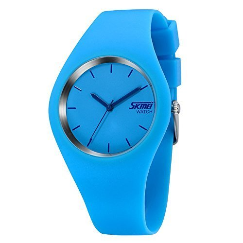 Fashion Sports Jelly Watches - Simple Casual Analog Watches Silicone Strap Wrist Watches Blue Watch ()