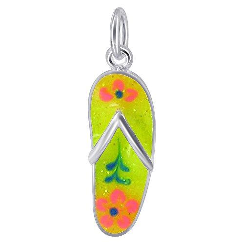 925 Sterling Silver Lime Enamel Flip Flop Pendant with Orange Flower - Flip Flower Pendant Flop