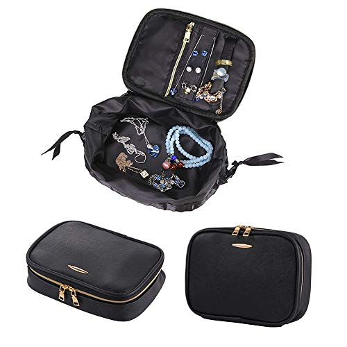 NEPPT Wedding Jewelry Case Travel Box Leather Pouch Black Holder Rolls Carrying Fashion Bag Earring Necklaces Pouch Storage Organizer Portfolio Accessories Portable Tote Women with Gift Bag