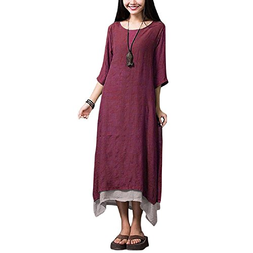Romacci Women Casual Maxi Dress Vintage Chinese Style Loose Boho Long Dress (2XL, Burgundy) (Dress Chinese Dresses Chinese)