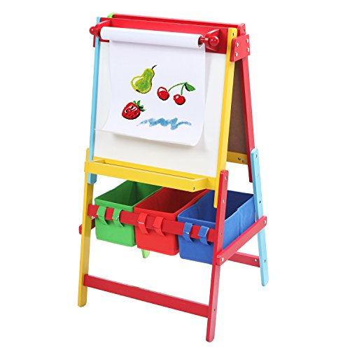 Freestanding White Board / Chalkboard Easel for Kids, Art Paper Roll Holder & 3 Storage Bins