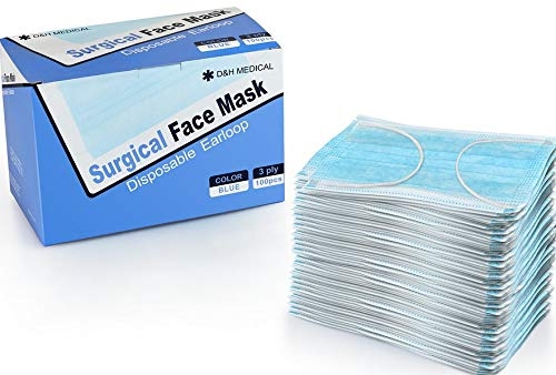 100 Pack Disposable Medical Sanitary Surgical Face Masks with Elastic Earloops  Hypoallergenic Thick