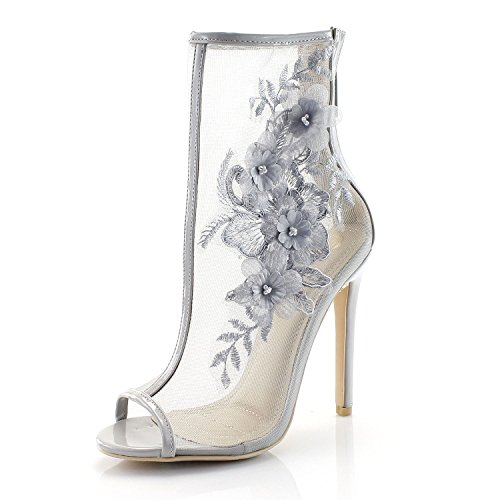 FOREVER VOGUE Peep Toe Mesh Dressy Fashion Booties With Floral - Vogue Boots