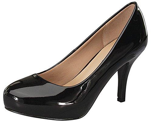 Cambridge Select Women's Classic Round Toe Mid Heel Dress Pump (7 B(M) US, Black Patent) Black Leather Classic Pumps