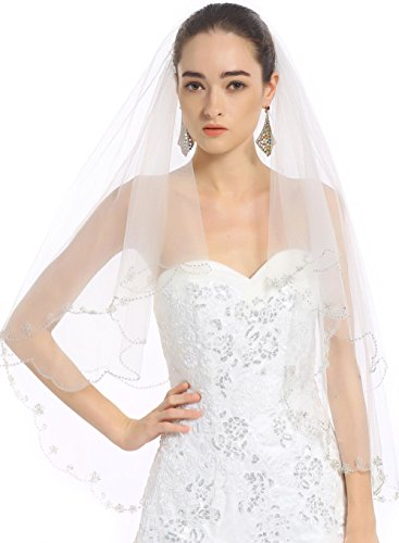 "Passat Two Tiers Wedding Bridal Veil 244 Size 2T(24""X36"") Color White"