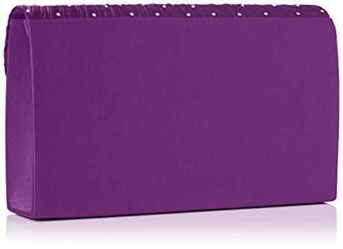 Swankyswans Abby Diamante Envelope Style Bag - Bolso Mujer morado (Purple)