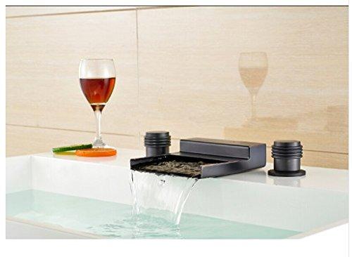 Gowe Dual Handle Bathroom Basin Faucet Waterfall Sink Mixer Tap Oil Rubbed Bronze Tap 2