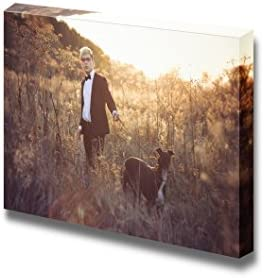 Young Attractive Man in Suit and Tie with a Greyhound Dog in Autumn Outdoors Wall Decor