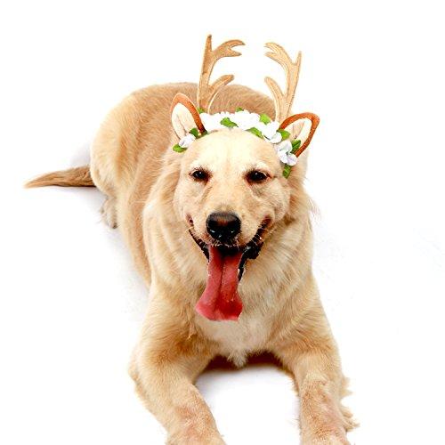 Sweet Devil Dog Antlers Costume Hat Pet Christmas Antlers Cap Elk Horn Shape,Small