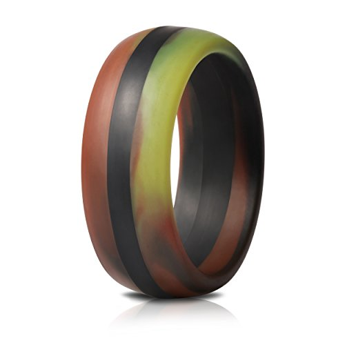 Saco Band Mens Silicone Rings Wedding Bands - Single (Camo with Black Line, 6.5-7 (17.3mm)) ()