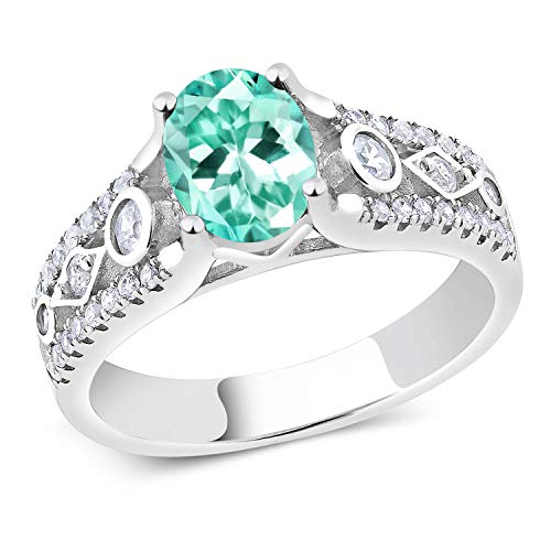Gem Stone King 1.75 Ct Oval Blue Apatite 925 Sterling Silver Ring (Size 8) ()