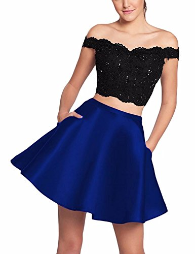 FNKS CRAFT Spaghetti Straps Bridesmaid Dresses Chiffon Beach Prom Wedding Party Bridal Gowns Black & Royal Blue US6