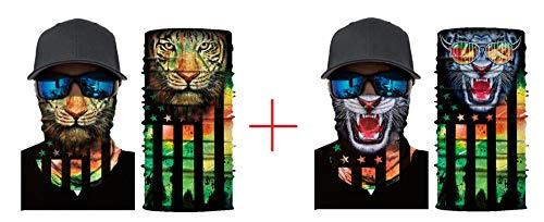 HAPTIME Pack of 2 Seamless Bandanas Face Mask,Neck Gaiter, Balaclava, Headbands for Riding, Hiking, Fishing etc.