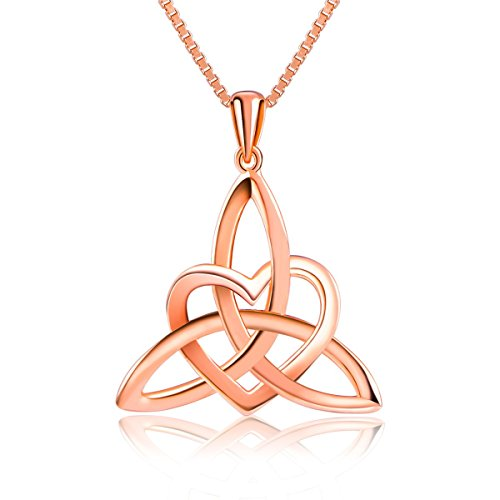 Sterling Silver Good Luck Irish Celtic Knot Triangle Lover Heart Shaped Pendant Necklace, ()