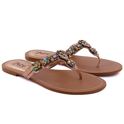 Unze Las nuevas mujeres SCARLET embellecieron el resbalón ocasional moldeado del verano de la tarde en el tamaño plano 3-8 del dedo del pie del dedo del pie abierto Multi