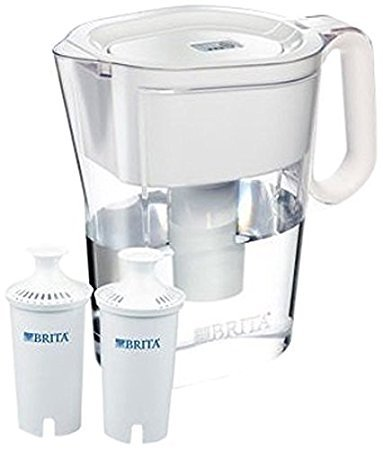 Brita Wave Filtered Water Filter Pitcher 10 Cup Capacity Includes 2 Filters Various Colors (White-White Handle)