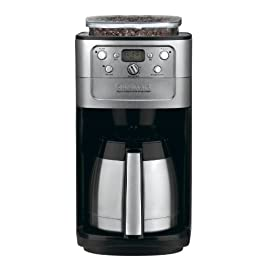 Cuisinart DGB-700BC Grind-and-Brew 12-Cup Automatic Coffeemaker, Brushed Chrome/Black 16 24-hour fully programmable coffeemaker with auto shutoff, brew-pause feature, and Grind off function Double-wall insulated stainless steel thermal carafe with comfort grip handle holds up to 12 cups of coffee Built-in automatic burr grinder and 8-ounce bean hopper holds a half pound of beans. Strength selector and grind control fine-tune intensity and volume