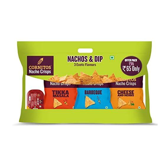 Cornitos 3 Packs (3 Exotic Flavor) of Nachos Crisps 30g+ cornitos Salsa dip