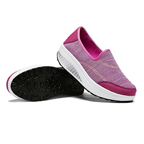 Mesh Sneaker Rose Rouge Femmes Mesdames Respirant Chaussures Sport Wyhweilong Filles Shake Wedges g48qwnAH
