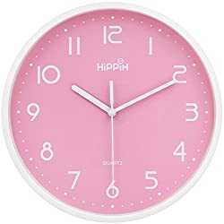 HIPPIH 10 in Non-Ticking Quartz Wall Clock, Silent Decorative Indoor Kitchen Pink Clock, Clear Numbers, Battery Operated Wall Clocks