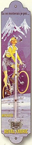 FRENCH METAL DECORATIVE SILKSCREENED THERMOMETER RETRO AD ROYAL FABRIC BICYCLES by Thermometer