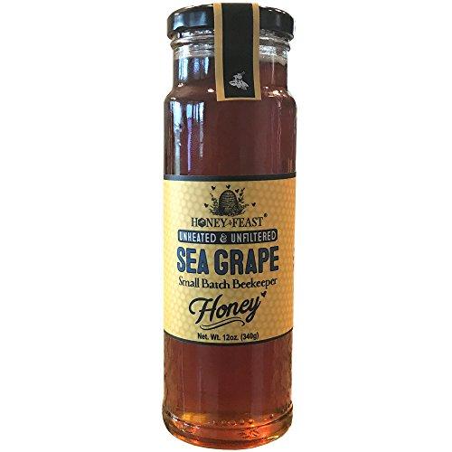 Gourmet Sea Grape Honey - 12oz Glass Jar. Raw, Unheated, Unfiltered USA Honey Feast brand honey. Hand crafted small batch beekeeper honey from Florida. USA (Desert Blossom Honey)