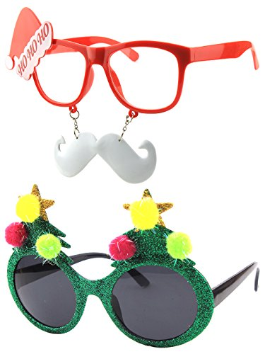 Heaven And Hell Party Costumes (CGID Christmas Sun Glasses Costume Accessory Novelty Glitter Xmas Tree and Santa Beard Sunglasses)