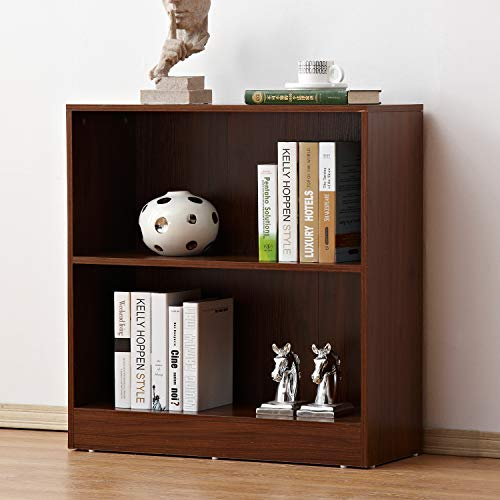soges 2 Tiers Wood Storage Cabinet with Back Shelving Unit Cabinet Free Standing Bookshelf in Walnut Finish, HHGZ002-WN by soges