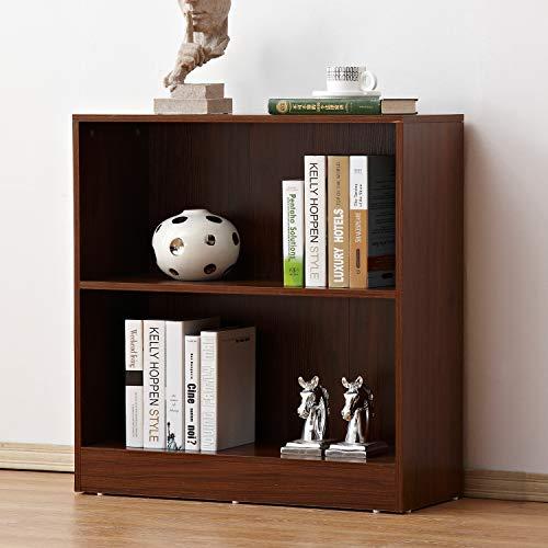 soges 2 Tiers Wood Storage Cabinet with Back Shelving Unit Cabinet Free Standing Bookshelf in Walnut Finish, HHGZ002-WN (Finish Walnut Back)