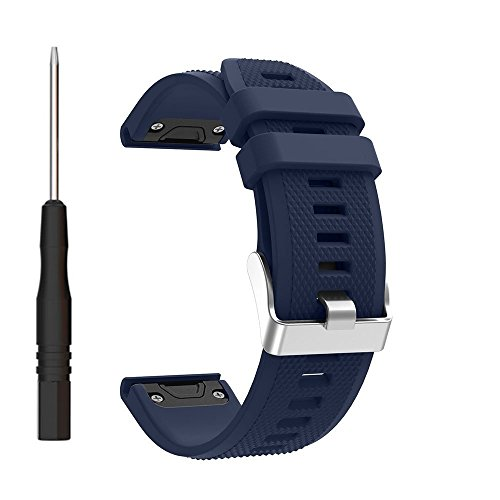 Hanshi Silicone Bands Compatible Garmin Fenix 5 Watch,Quick Release Fit 22mm Smart Watch Replacement Strap for Garmin Fenix 5 / Fenix 5 Sapphire (Midnight Blue, Garmin Fenix 5 / Forerunner 935)