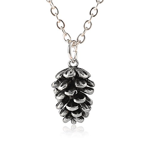 Wintefei Vintage Women Cute Pine Cone Shape Pendant Thin Chain Necklace Jewelry Gift - Antique Silver