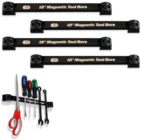4 Piece Heavy-Duty 12 inch Magnetic Tool Organizer Racks