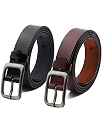 Set of 2 Women's Genuine Cowhide Leather Belt for Jeans Pants Pin Buckle By ANDY GRADE