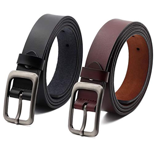 Jeans Leather Ladies (Set of 2 Women's Genuine Cowhide Leather Belt Ladies Vintage Casual Belts for Jeans Shorts Pants Summer Dress for Women With Alloy Pin Buckle By ANDY GRADE, Style 1, 110cm-120cm)