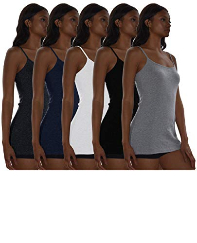 Sexy Basics Women's 5 Pack / 12 Pack Basic Solid Color Cotton Stretch Camisole Adjustable Spaghetti Strap Tank Top (5 Pack- Black/White/Grey/Navy/ Charcoal, X-Large)