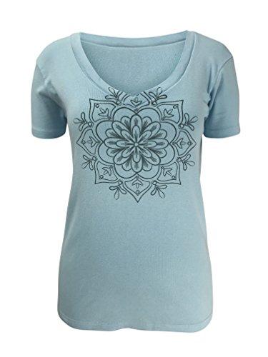 (Green 3 Blue Mandala Henna Medallion Short Sleeve T Shirt (Light Blue) - 100% Organic Cotton Womens Tshirt, Made in The USA )