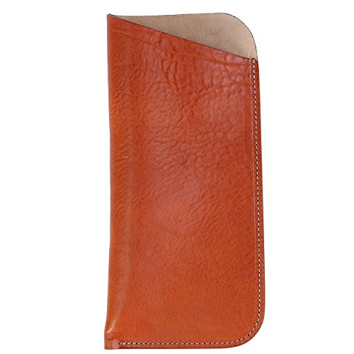 The British Belt Company Italian Leather Slip Glasses Case with Suede Lining, (Mens Beige Italian Suede)