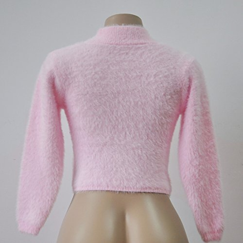 QIYUN.Z Mujer De La Manga Larga Suéteres De Cuello Alto Suéter De Punto Plushed Estilo Corto rosa