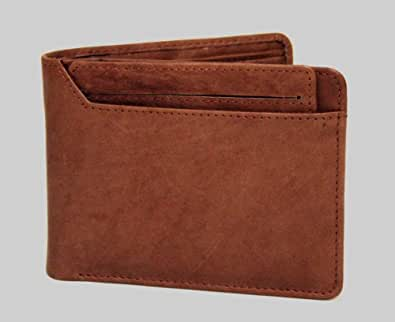 Genuine Leather Men Bifold Wallet with Removable ID Case