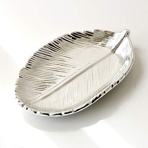 FairDeco Silver Electroplating Ceramic Leaf Trays Small Jewelry Storage Box Decorative Centerpiece Accents