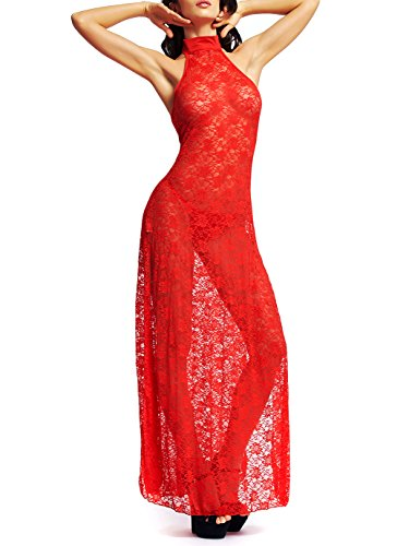 Amoretu Womens Floral Lace Lingerie Long Cheongsam Side Split Gown ()