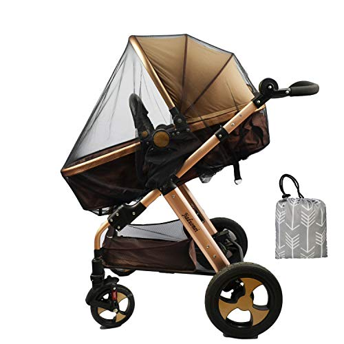 Baby Stroller Netting Mosquito with Organizer for Cribs, Toddler Mosquito Net for Stroller with Storage Bag, Infant car seat Insect mesh net, Easy Installation,Black