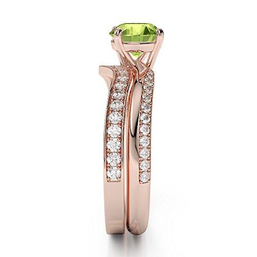 Or Rose 18carats 1CT G-H/VS sertie de diamants ronds Cut Péridot et mariée Bague de fiançailles et ensemble de Agdr-2017
