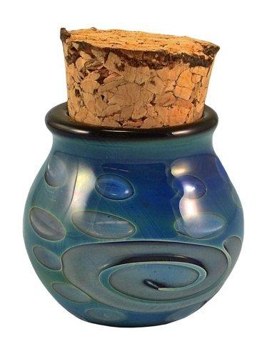 Iridescent Swirls Hand Blown Pyrex Jar w/Cork - 2