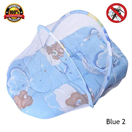 Baby Bedding Crib Netting Folding - Baby Mosquito Insect Nets Bed Mattress Pillow Portable Three-Piece Suit for 0-2T Baby (Blue ()