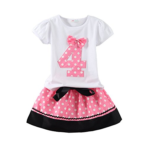 Mud Kingdom Little Girls Birthday Outfits I Am 4 Years Clothes Skirt Sets Pink 4T