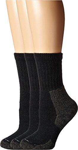 Thorlos Women's Hiking Crew 3-Pair Pack Black Socks SM (Women's Shoe 5-6.5)
